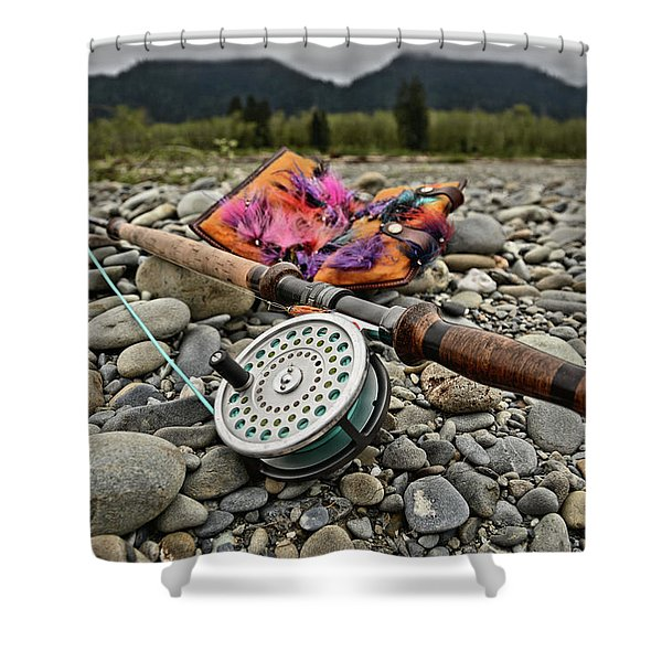 Fly Rod And Streamers Landscape Shower Curtain
