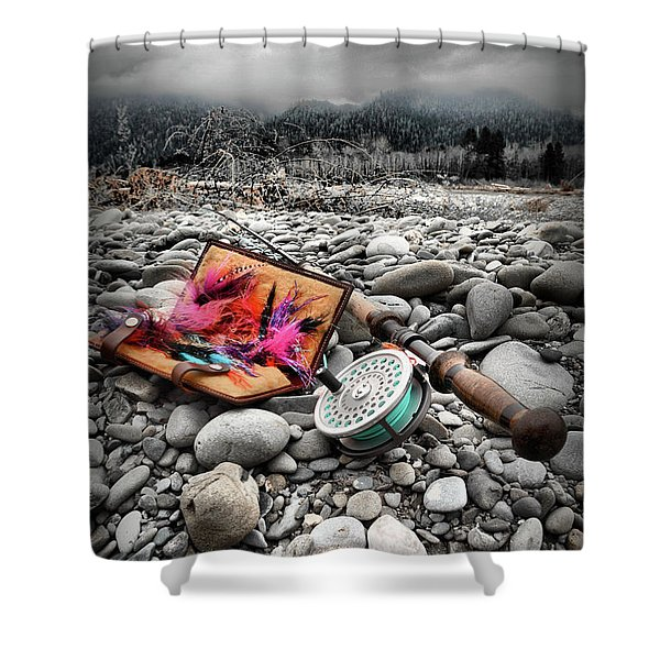 Fly Rod And Streamers Portrait Shower Curtain