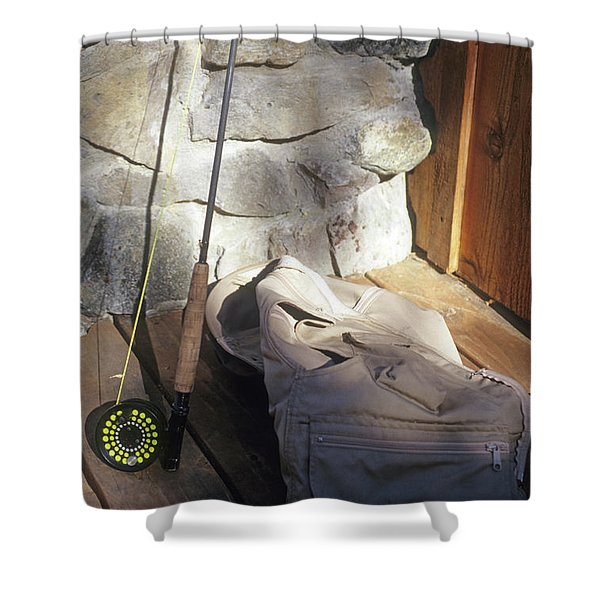 Fly Rod And Vest Shower Curtain
