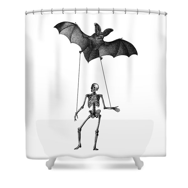 Flying Bat With Skeleton On A String Shower Curtain