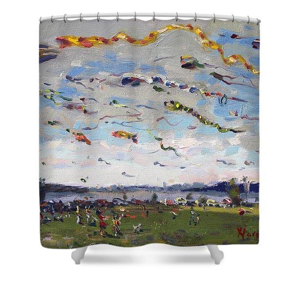 Flying Kites Over Gratwick Park Shower Curtain