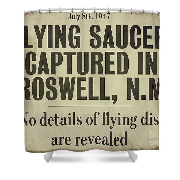 Flying Saucer Roswell Newspaper Shower Curtain