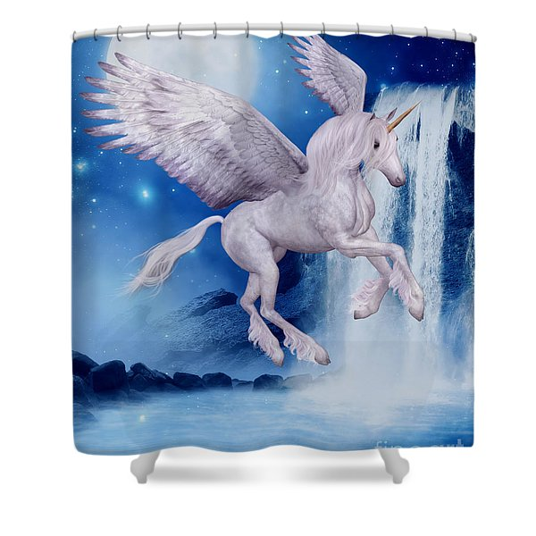 Flying Unicorn Shower Curtain