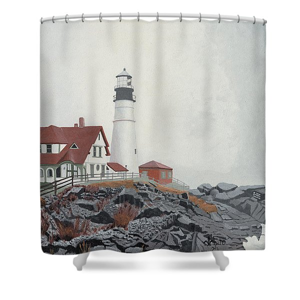 Shower Curtain featuring the painting Fog Approaching Portland Head Light by Dominic White