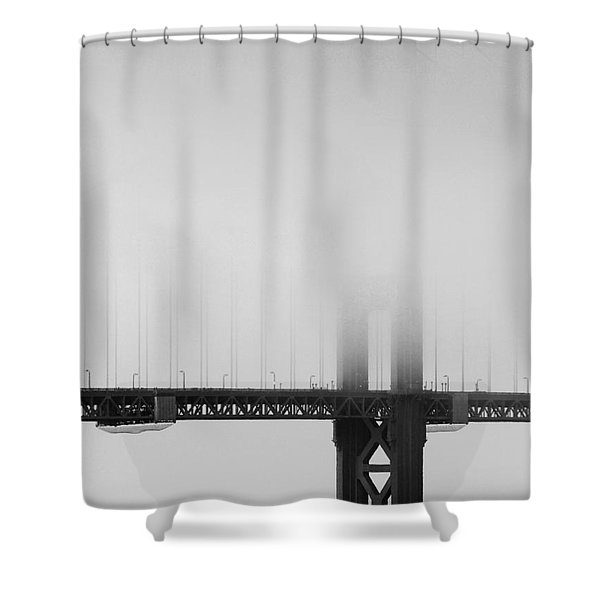 Fog At The Golden Gate Bridge 4 - Black And White Shower Curtain