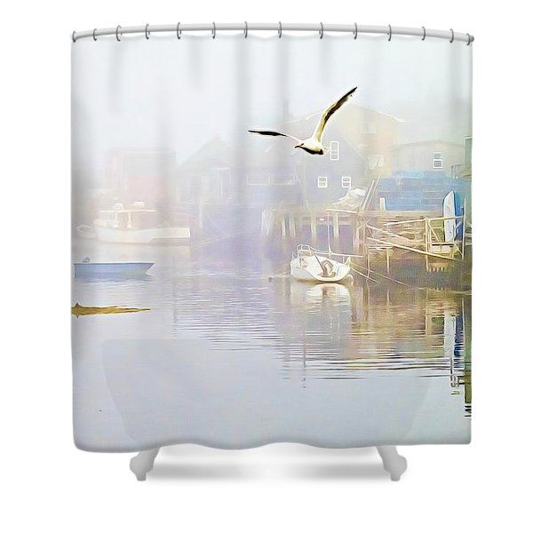 Fog Over West Dover - Digital Paint Shower Curtain