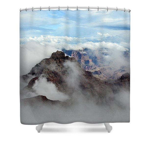 Fog Shrouded Vishnu Temple  Shower Curtain