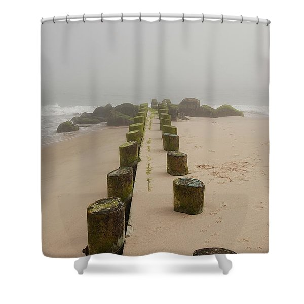 Fog Sits On Bay Head Beach - Jersey Shore Shower Curtain