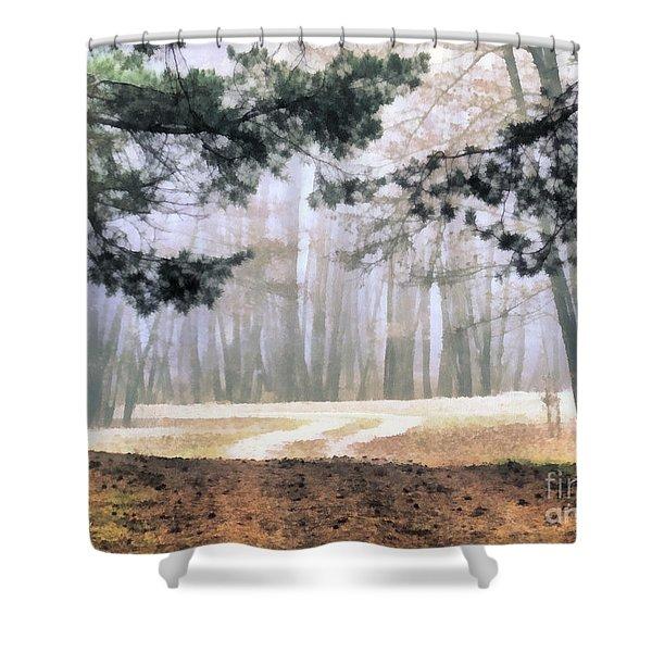 Foggy Autumn Landscape Shower Curtain