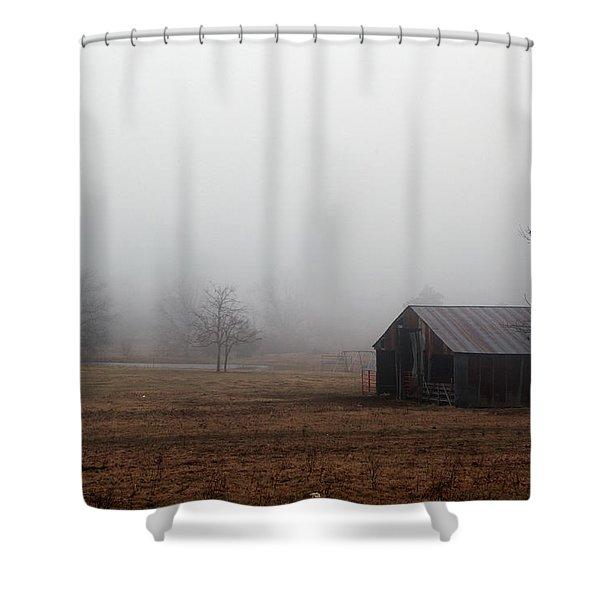 Foggy Barnyard Shower Curtain