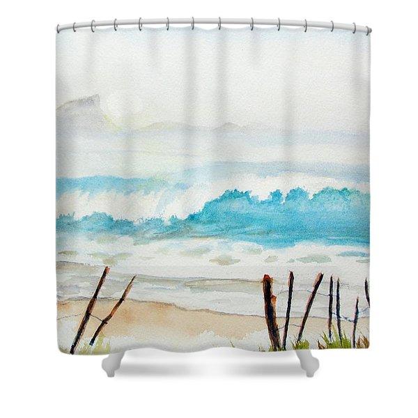Foggy Beach Shower Curtain