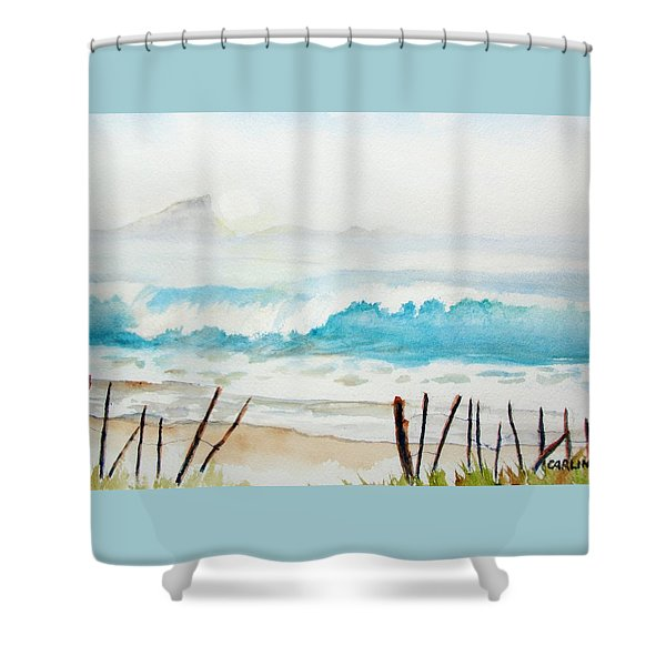 Foggy Beach Shower Curtain