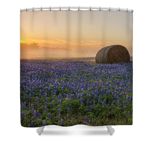 Foggy Bluebonnet Sunrise - Independence Texas Shower Curtain