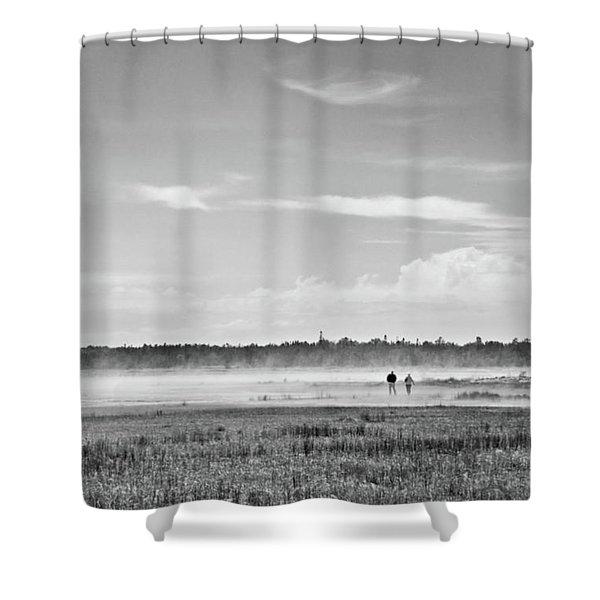 Foggy Day On A Marsh Shower Curtain