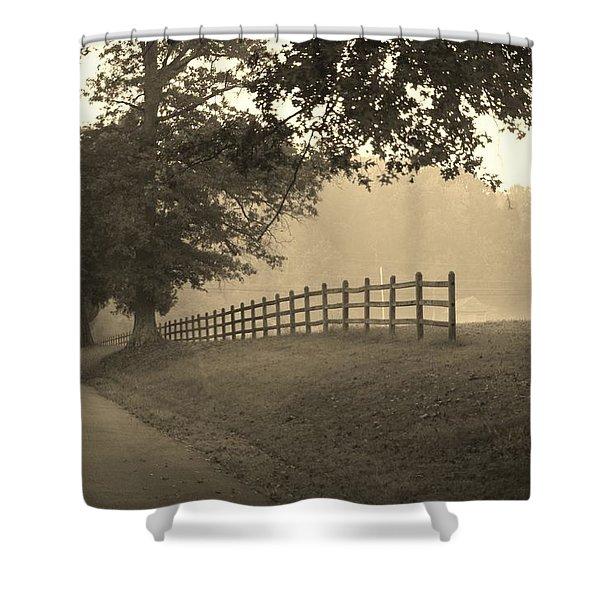 Foggy Fence Line Shower Curtain