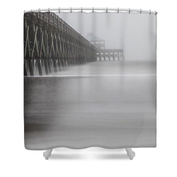Foggy Folly Beach Pier Shower Curtain