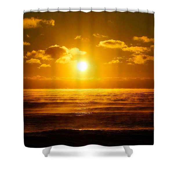 Foggy Gold Sunrise Shower Curtain