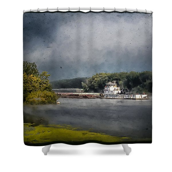 Foggy Morning At The Barge Harbor Shower Curtain
