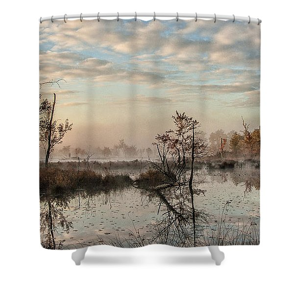 Foggy Morning In The Pines Shower Curtain