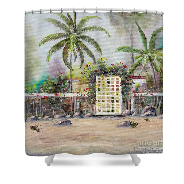 Shower Curtain featuring the painting Foggy Morning by Mary Scott