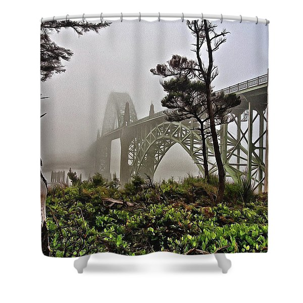 A Foggy Morning On Yaquina Bay Shower Curtain