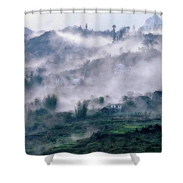 Shower Curtain featuring the photograph Foggy Mountain Of Sa Pa In Vietnam by Silva Wischeropp