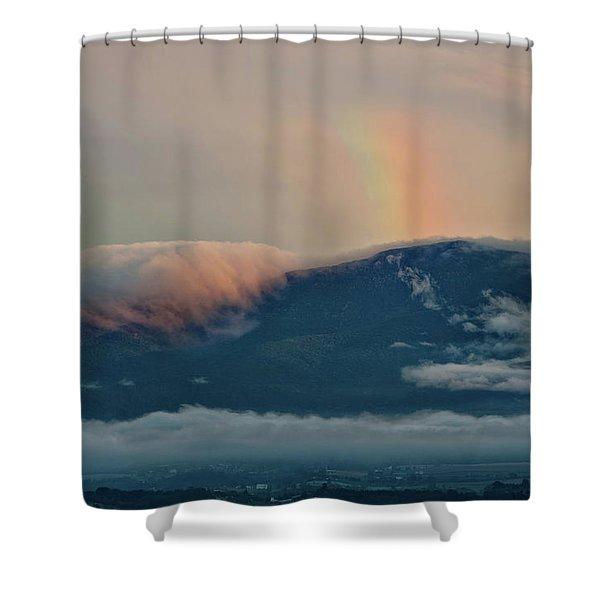 Foggy Mountain Rainbow Shower Curtain