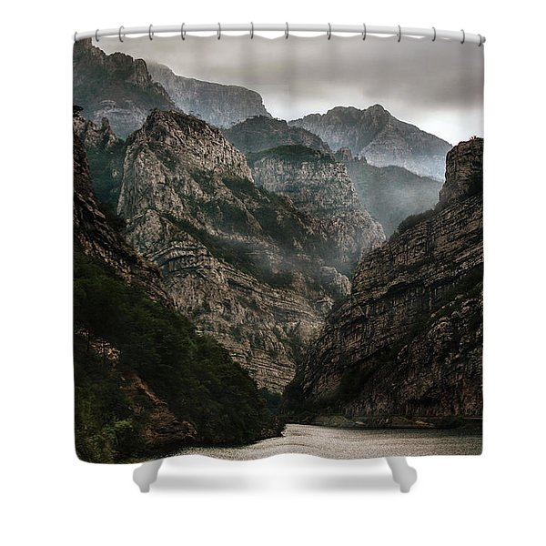 Shower Curtain featuring the photograph Foggy Mountains Over Neretva Gorge by Jaroslaw Blaminsky
