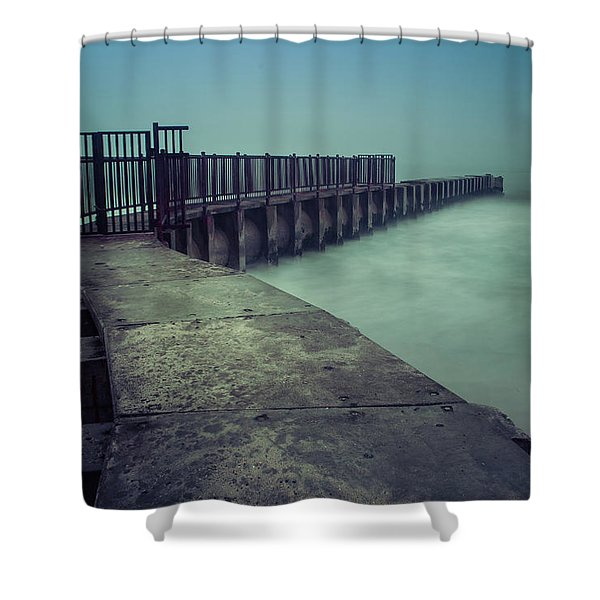 Foggy Night At Toes Beach Shower Curtain