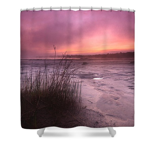 Foggy Sunset At Singing Sands Shower Curtain