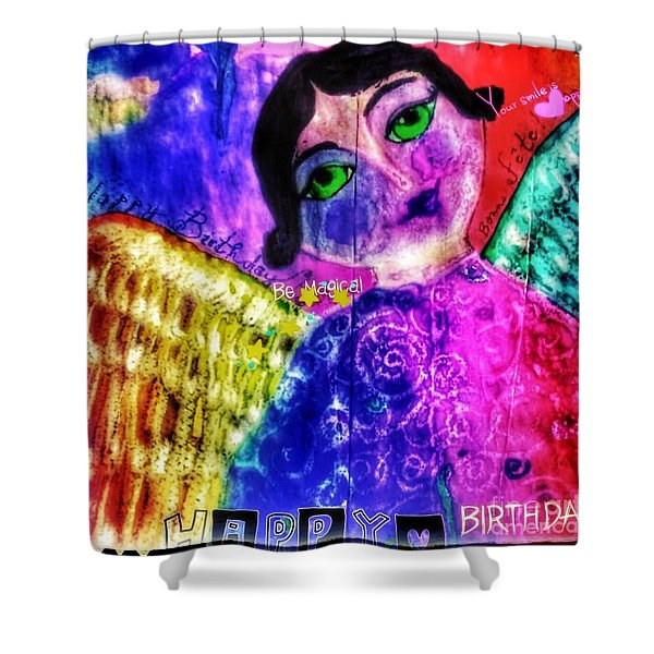Folk Art Happy Birthday Angel Shower Curtain