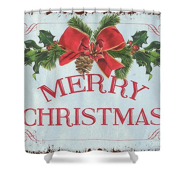 Folk Merry Christmas Shower Curtain