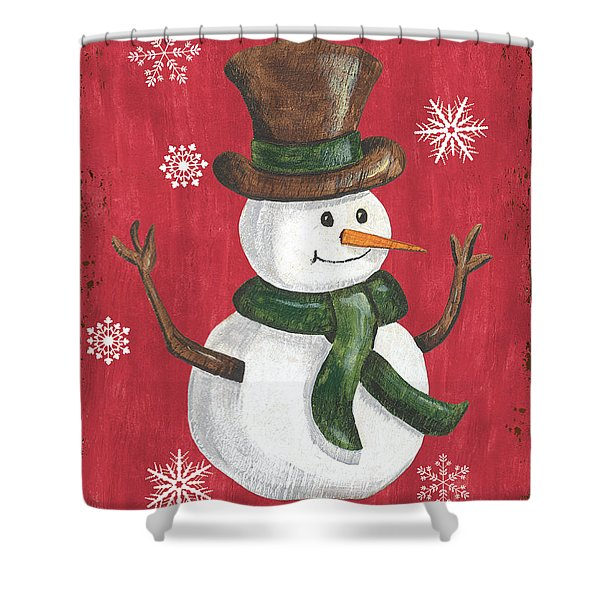 Folk Snowman Shower Curtain
