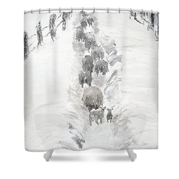 Follow The Flock Shower Curtain