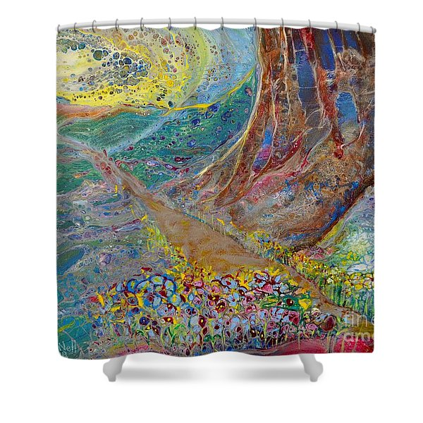 Shower Curtain featuring the painting Follow Your Path by Deborah Nell