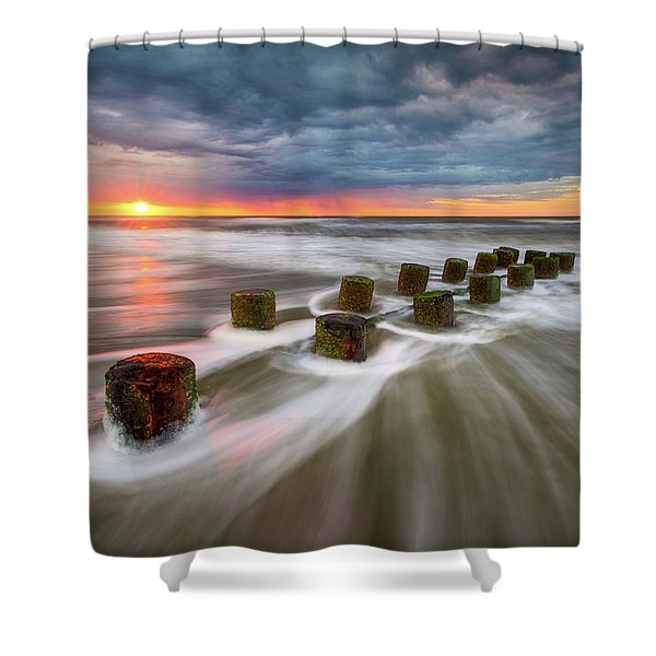 Folly Beach Charleston Sc South Carolina Sunrise Seascape Shower Curtain
