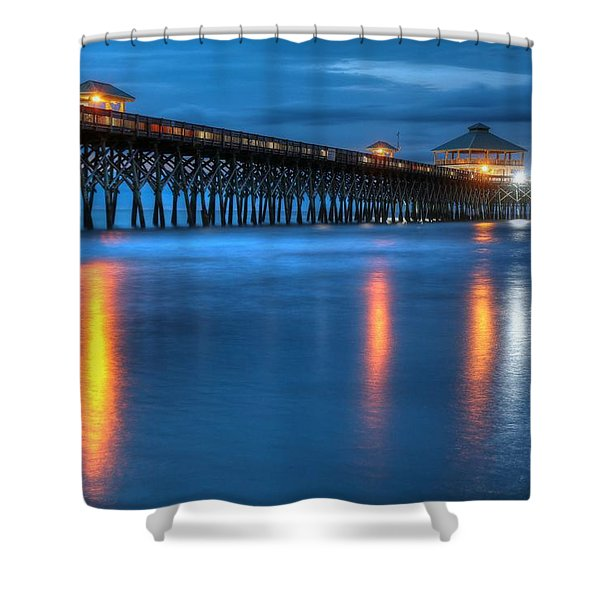 Folly Beach Pier At Blue Hour Charleston South Carolina Shower Curtain