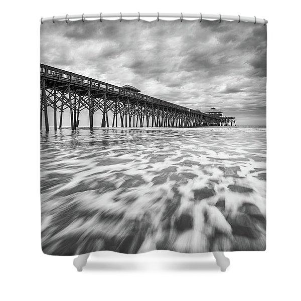 Folly Beach Pier Sc Scenic Seascape Photography Shower Curtain