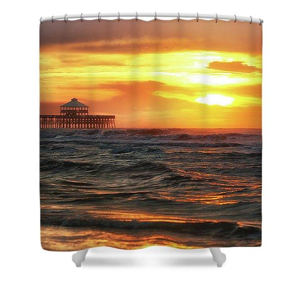 Folly Beach Pier Sunrise Shower Curtain
