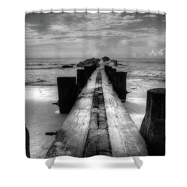 Folly Beach Pilings Charleston South Carolina In Black And White  Shower Curtain