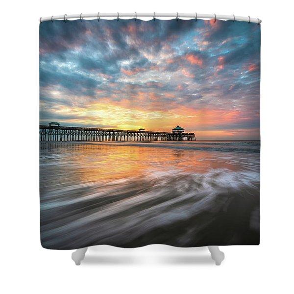 Folly Beach Sc Ocean Seascape Charleston South Carolina Scenic Landscape Shower Curtain