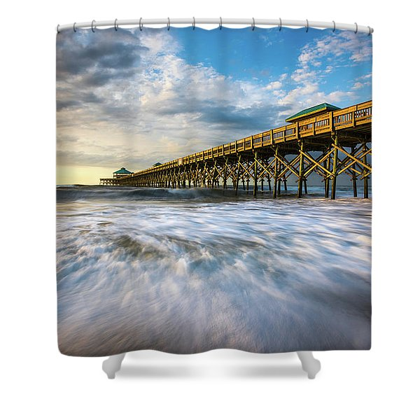Folly Beach Sc Pier Charleston South Carolina Seascape Shower Curtain