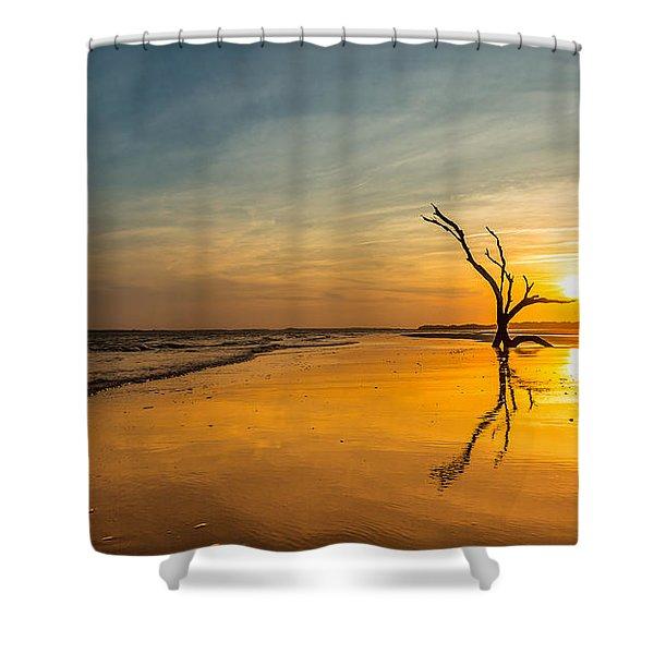 Folly Beach Skeleton Tree At Sunset - Folly Beach Sc Shower Curtain