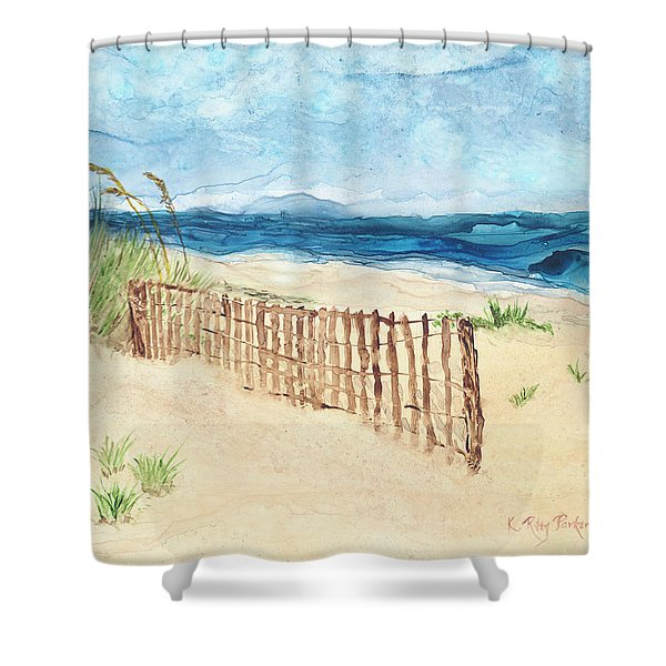 Shower Curtain featuring the painting Folly Field Fence by Kathryn Riley Parker