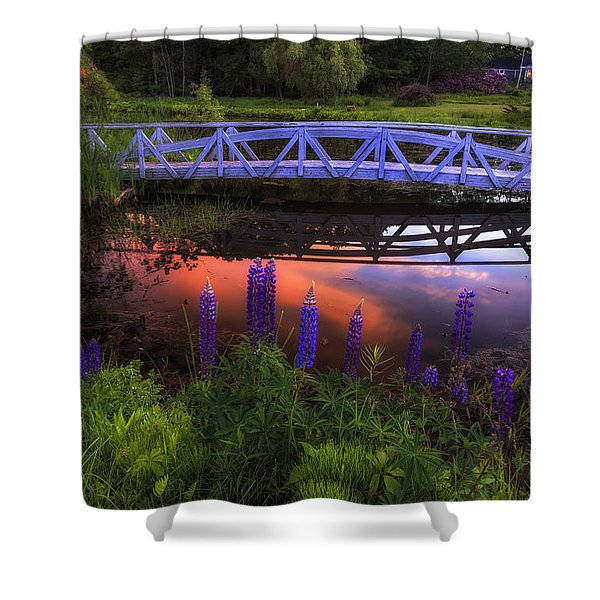 Footbridge Sunset Shower Curtain