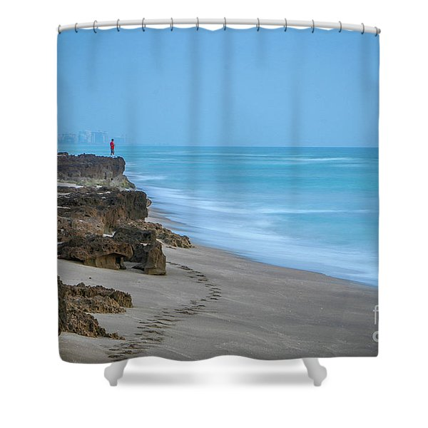 Shower Curtain featuring the photograph Footprints And Rocks by Tom Claud
