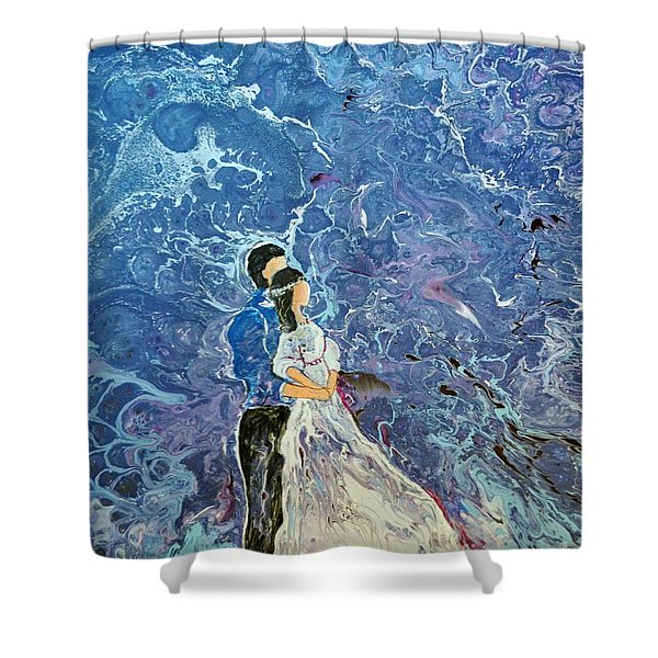 Shower Curtain featuring the painting For Better Or For Worse by Deborah Nell