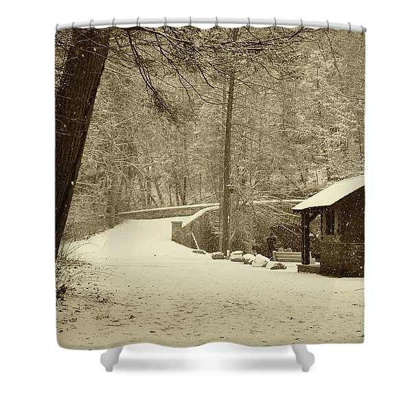 Forbidden Drive In Winter Shower Curtain by Bill Cannon