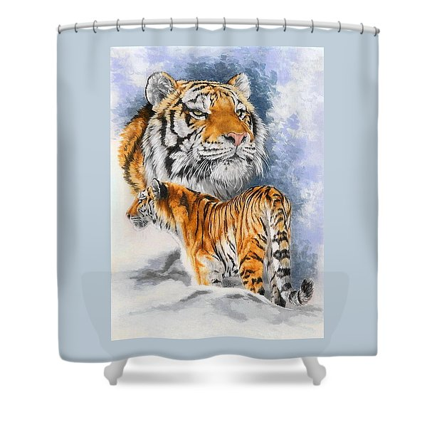 Shower Curtain featuring the mixed media Forceful by Barbara Keith