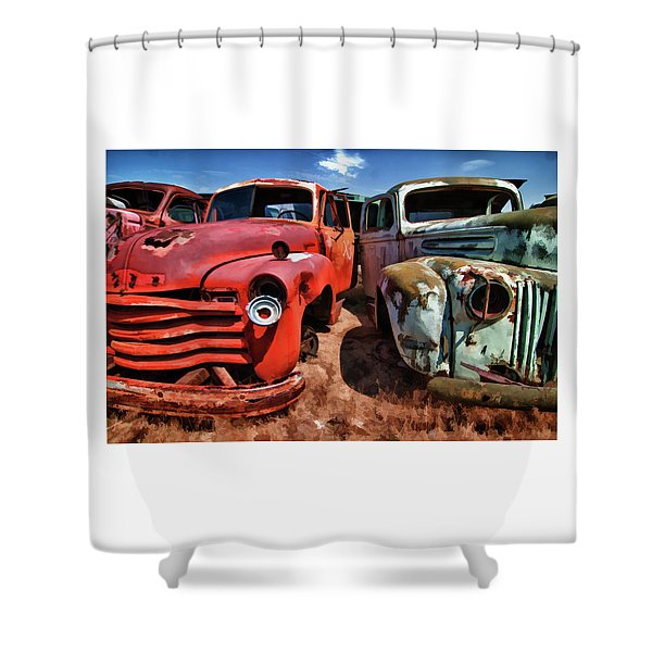 Ford And Chevy Standoff Shower Curtain